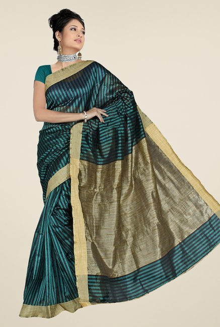 Pavecha's Teal & Beige Banarasi Cotton Silk Saree