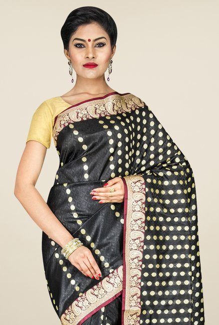 Pavecha's Black Banarasi Cotton Silk Printed Saree