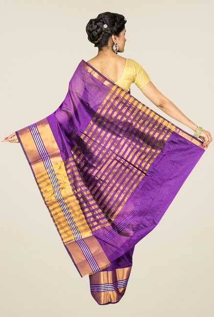 Pavecha's Purple Banarasi Cotton Silk Solid Saree