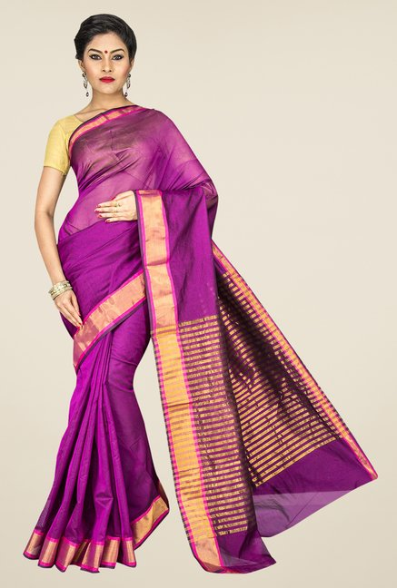 Pavecha's Magenta Banarasi Cotton Silk Solid Saree