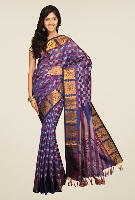 Pavecha's Purple Banarasi Cotton Silk Saree