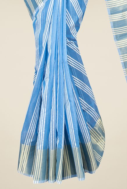 Pavecha's Blue Banarasi Cotton Silk Stripes Saree