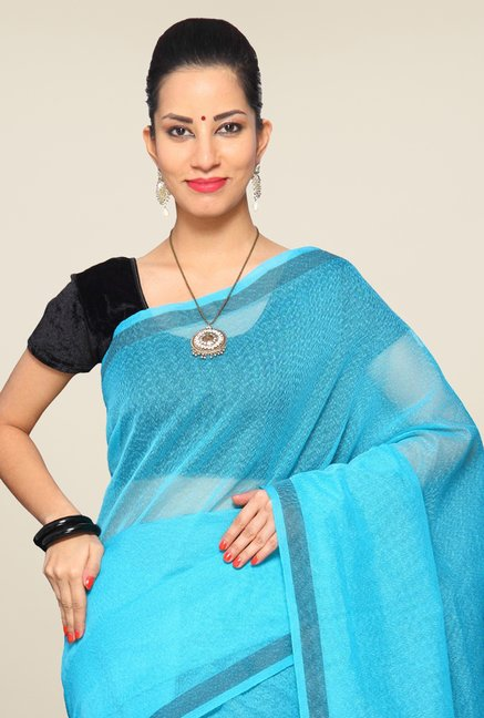 Pavecha's Turquoise Cotton Silk Saree