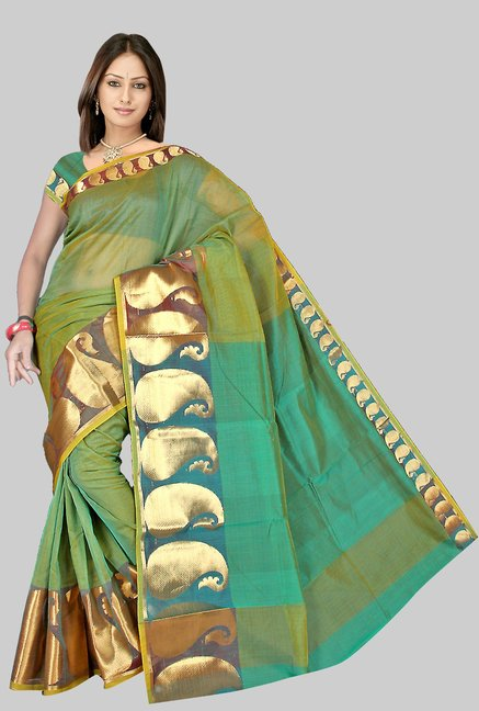 Pavecha's Green Chettinad Cotton Silk Saree