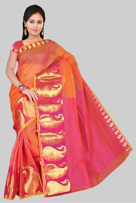 Pavecha's Pink Chettinad Cotton Silk Saree