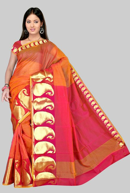Pavecha's Orange Chettinad Cotton Silk Saree