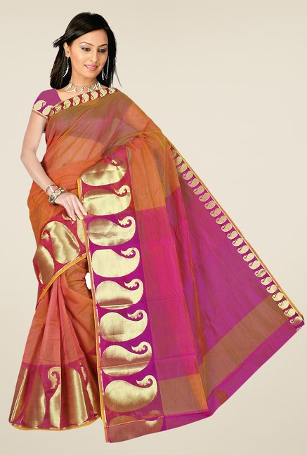 Pavecha's Brown Chettinad Cotton Silk Saree