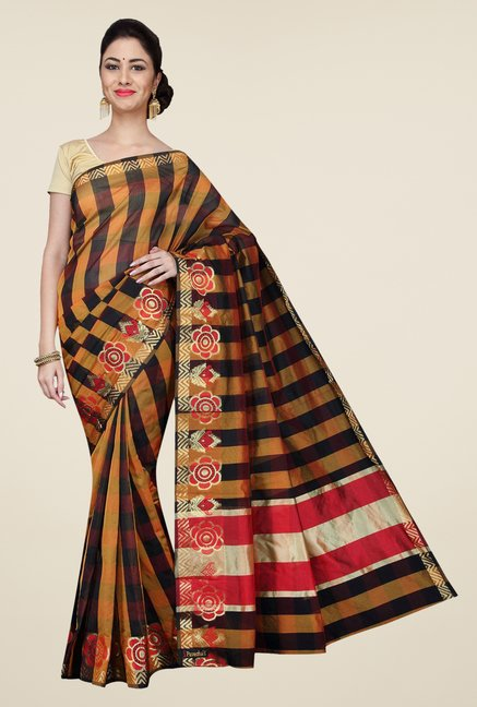 Pavecha's Mustard & Black Banarasi Cotton Silk Saree
