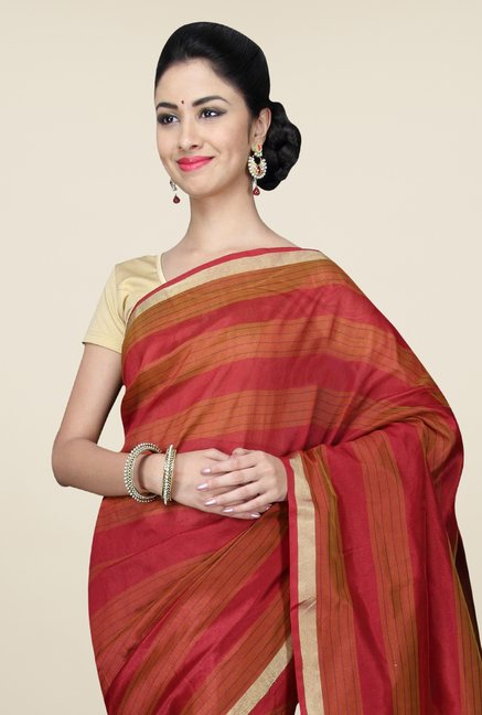 Pavecha's Orange Banarasi Cotton Silk Striped Saree