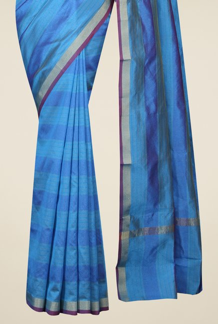 Pavecha's Blue Banarasi Cotton Silk Striped Saree