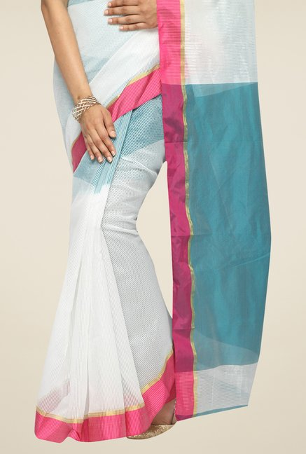 Pavecha's Off White & Teal Banarasi Cotton Silk Saree