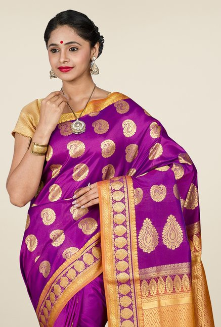 Pavecha's Purple Kanjivaram Silk Saree