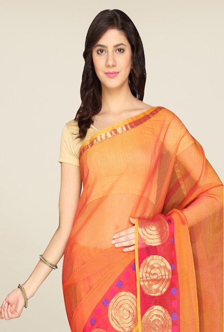 Pavecha's Orange Banarasi Kota Cotton Saree