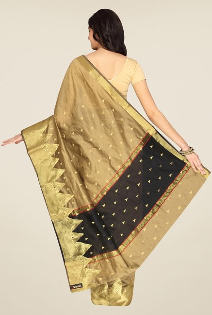 Pavecha's Beige Banarasi Silk Cotton Blend Saree