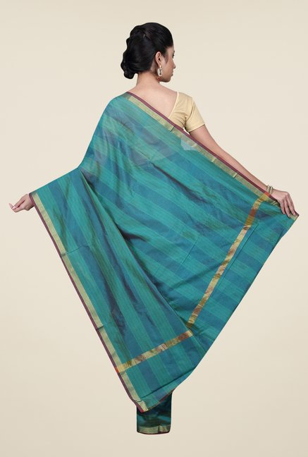 Pavecha's Green Banarasi Cotton Silk Striped Saree