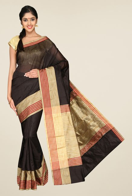 Pavecha's Black Banarasi Cotton Silk Solid Zari Saree