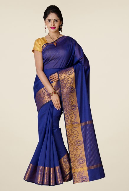 Pavecha's Royal Blue Banarasi Cotton Silk Saree