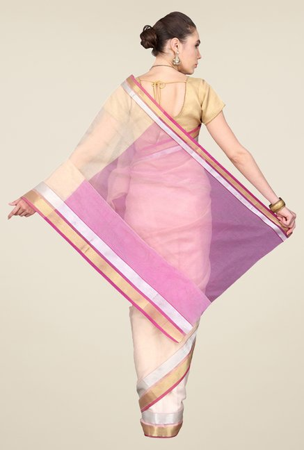 Pavecha's Beige & Purple Banarasi Cotton Silk Saree