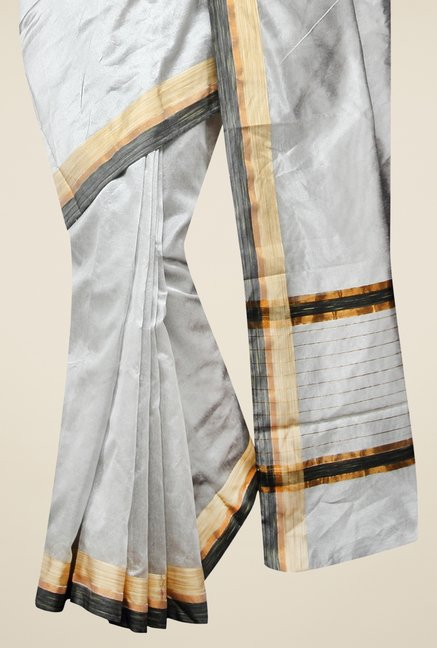 Pavecha's Grey Banarasi Cotton Silk Solid Zari Saree
