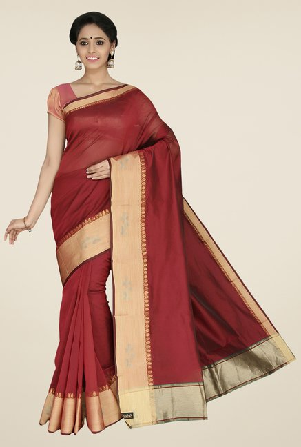 Pavecha's Maroon Banarasi Cotton Silk Saree