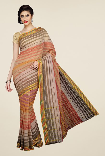 Pavecha's Multicolor Mangalagiri Striped Cotton Saree