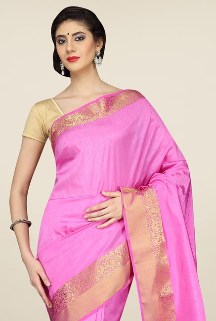 Pavecha's Pink Mangalagiri Cotton Silk Saree
