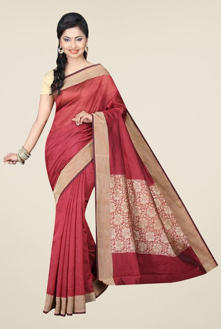 Pavecha's Rust Banarasi Cotton Silk Solid Saree