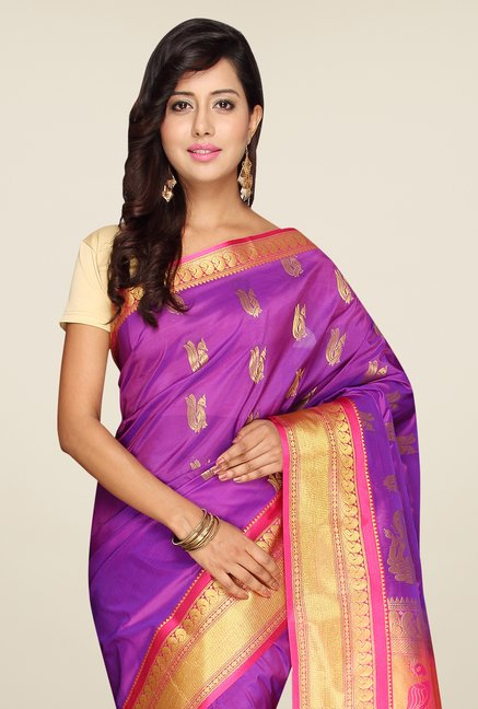 Pavecha's Purple Kanjivaram Art Silk Saree