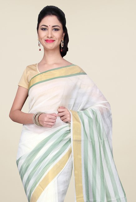 Pavecha's White & Green Banarasi Cotton Silk Saree