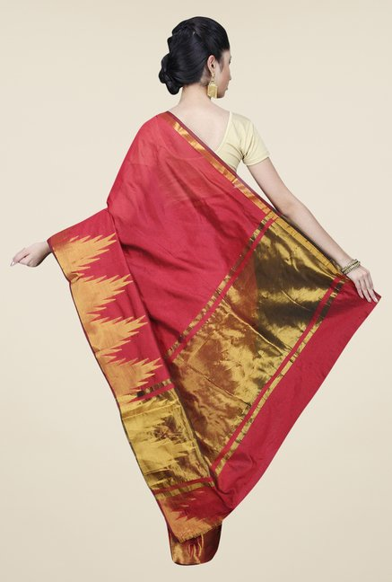 Pavecha's Red Banarasi Cotton Silk Solid Saree