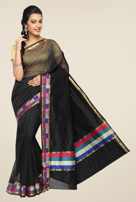 Pavecha's Black Banarasi Cotton Silk Zari Solid Saree