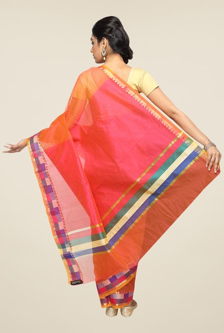 Pavecha's Orange Banarasi Cotton Silk Zari Solid Saree