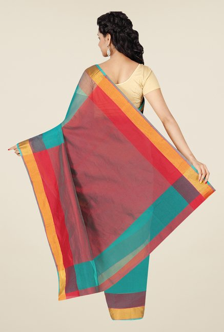 Pavecha's Teal Banarasi Cotton Silk Checks Zari Saree