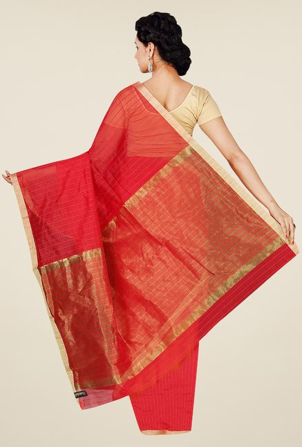 Pavecha's Red Banarasi Cotton Silk Striped Saree