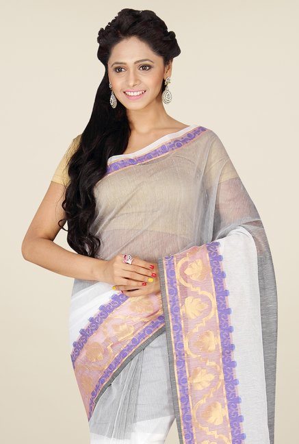 Pavecha's White & Grey Banarasi Cotton Silk Saree