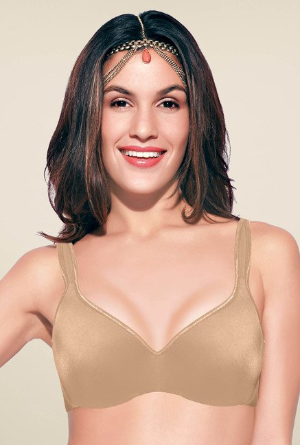 Enamor Beige Non Wired Non Padded Seamless Bra