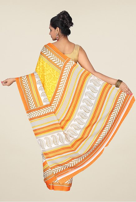 Pavecha's Yellow & Orange Synthetic Saree