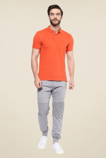 celio* Orange Solid Polo T Shirt