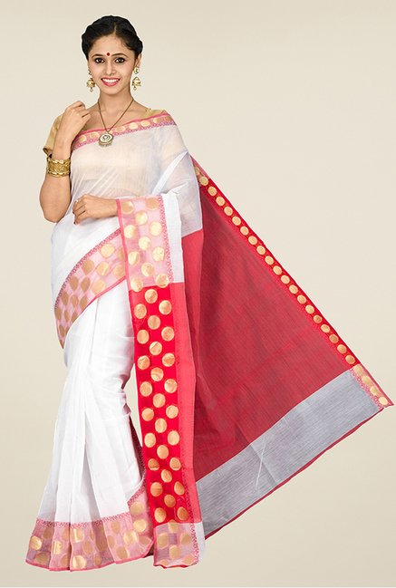 Pavecha's White Banarasi Silk Cotton Blend Saree