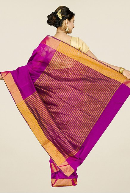 Pavecha's Magenta Banarasi Silk Cotton Blend Saree
