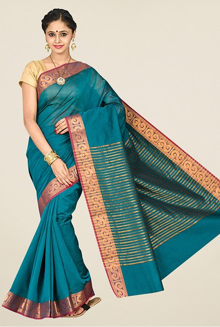 Pavecha's Teal Banarasi Silk Cotton Blend Saree