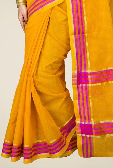 Pavecha's Yellow Banarasi Cotton Silk Saree