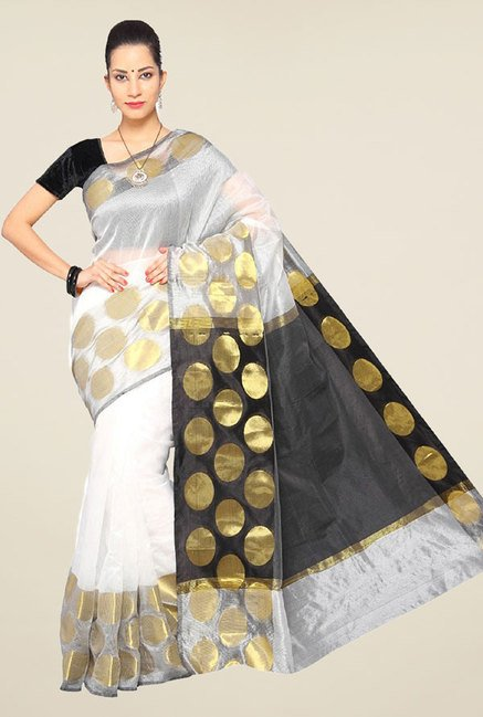 Pavecha's White Banarasi Cotton Silk Saree