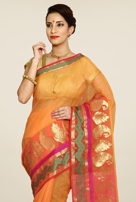 Pavecha's Orange Banarasi Cotton Silk Saree