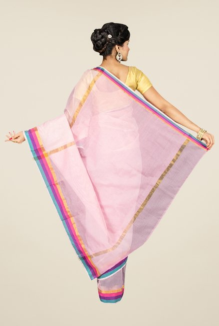 Pavecha's Pink Banarasi Cotton Silk Solid Saree