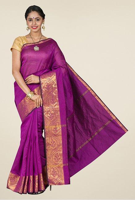 819a1f5b76 Buy Pavecha's Magenta Banarasi Cotton Silk Saree For Women Online At Tata  CLiQ