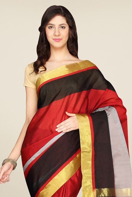 Pavecha's Red & Grey Banarasi Silk Cotton Blend Saree