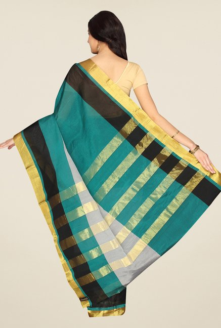 Pavecha's Teal & Grey Banarasi Silk Cotton Blend Saree