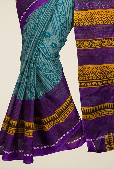 Pavecha's Blue & Purple Mangalagiri Cotton Polyblend Saree