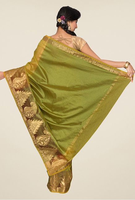 Pavecha's Olive Banarasi Cotton Silk Saree